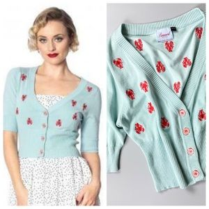 """Banned Retro """"Pinch Me"""" Lobster Cropped Cardigan"""
